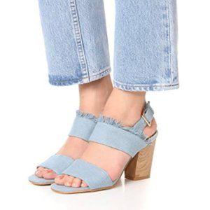 MATIKO Teegan Block Heel Sandals in Denim Size 38